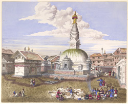 Temple & Vihar of Maha-Buddha (Satya Singha) in Katmandoo. August 1857
